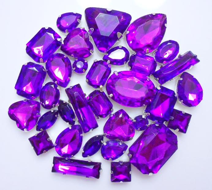 30 pcs sew on gems purple mixed shapes gems