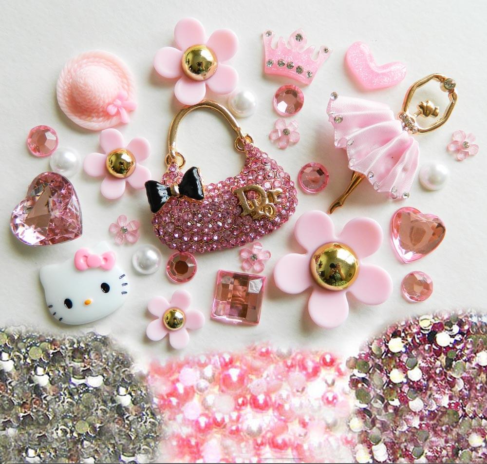 DIY 3D Pink Purse Bling Bling Kawaii Resin Cabochons Cell Phone Case Deco Kit / Set Z385 ...