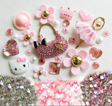 DIY 3D Pink Purse Bling Bling Kawaii Resin Cabochons Cell Phone Case Deco Kit / Set Z385 -- lovekitty