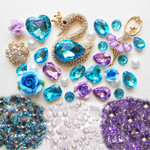DIY 3D Blue Crystal Swan Bling Bling Kawaii Resin Cabochons Cell Phone Case Deco Kit / Set Z386 -- lovekitty