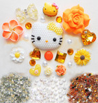 DIY 3D Pearled Hello Kitty Kawaii Cabochons Cell Phone Case Deco Kit / Set 390 -- lovekitty