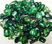 30 pcs Dark Green Cut Back Mixed Sizes Gems -- by lovekitty