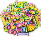 50 pcs --- Sew-On Gems --  AB Colors -- Mixed Shapes Flat Back Gems ( Mixed Sizes has thread holes ) ---- love kitty bling