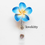 Lake Blue -- Hawaii Flower Retractable ID Badge Holder / Name Badges / ID Badge Reel ----  lovekitty