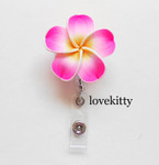 Hot Pink -- Hawaii Flower Retractable ID Badge Holder / Name Badges / ID Badge Reel ----  lovekitty