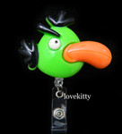 Green Bird  -- Anglry Bird Retractable ID Badge Holder / Name Badges / ID Badge Reel ----  lovekitty