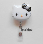 Black Bow With Pearl -- Hello Kitty Retractable ID Badge Holder / Name Badges / ID Badge Reel ----  lovekitty