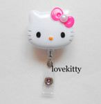 Hot Pink Bow With Pearl -- Hello Kitty Retractable ID Badge Holder / Name Badges / ID Badge Reel ----  lovekitty