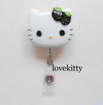 Black Strawberry Bow  -- Hello Kitty Retractable ID Badge Holder / Name Badges / ID Badge Reel ----  lovekitty