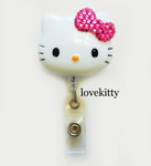 Hot Pink Bling Bow -- Hello Kitty Retractable ID Badge Holder / Name Badges / ID Badge Reel ----  lovekitty