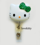 Dark Green Bling Bow -- Hello Kitty Retractable ID Badge Holder / Name Badges / ID Badge Reel ----  lovekitty