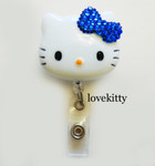 Dark Blue Bling Bow -- Hello Kitty Retractable ID Badge Holder / Name Badges / ID Badge Reel ----  lovekitty