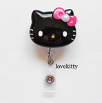 Black Face Hot pink Bling Bow  -- Hello Kitty Retractable ID Badge Holder / Name Badges / ID Badge Reel ----  lovekitty