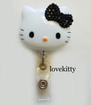 Black Bling Bow -- Hello Kitty Retractable ID Badge Holder / Name Badges / ID Badge Reel ----  lovekitty