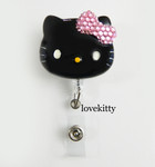 Black Face Pink Bling Bow -- Hello Kitty Retractable ID Badge Holder / Name Badges / ID Badge Reel ----  lovekitty