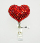 Red Heart -- Fully Binged Out Retractable ID Badge Holder / Name Badges / ID Badge Reel ----  lovekitty