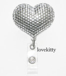 Clear Heart -- Fully Binged Out Retractable ID Badge Holder / Name Badges / ID Badge Reel ----  lovekitty