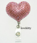 Pink Heart -- Fully Binged Out Retractable ID Badge Holder / Name Badges / ID Badge Reel ----  lovekitty