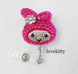Hot Pink Melody -- Fully Binged Out -- Retractable ID Badge Holder / Name Badges / ID Badge Reel ----  lovekitty