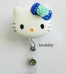Dark Blue Bling Rose Flower Bow -- Hello Kitty Retractable ID Badge Holder / Name Badges / ID Badge Reel ----  lovekitty