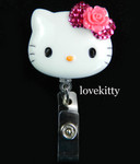 Hot Pink Bling Rose Flower Bow -- Hello Kitty Retractable ID Badge Holder / Name Badges / ID Badge Reel ----  lovekitty