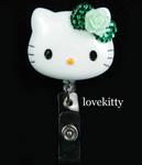 Dark Green Bling Rose Flower Bow -- Hello Kitty Retractable ID Badge Holder / Name Badges / ID Badge Reel ----  lovekitty