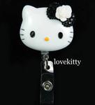 Black Bling Rose Flower Bow -- Hello Kitty Retractable ID Badge Holder / Name Badges / ID Badge Reel ----  lovekitty