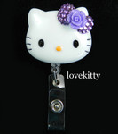 Dark Purple Bling Rose Flower Bow -- Hello Kitty Retractable ID Badge Holder / Name Badges / ID Badge Reel ----  lovekitty