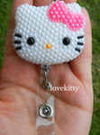Hot Pink Bow -- Fully Pearled Face -- Hello Kitty Retractable ID Badge Holder / Name Badges / ID Badge Reel ( 100% Handcrafted ) ----  lovekitty