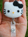 Black Bow -- Fully Pearled Face -- Hello Kitty Retractable ID Badge Holder / Name Badges / ID Badge Reel ( 100% Handcrafted ) ----  lovekitty