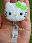 Green Bow -- Fully Pearled Face -- Hello Kitty Retractable ID Badge Holder / Name Badges / ID Badge Reel ( 100% Handcrafted ) ----  lovekitty