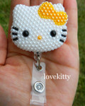 Gold Color Bow -- Fully Pearled Face -- Hello Kitty Retractable ID Badge Holder / Name Badges / ID Badge Reel ( 100% Handcrafted ) ----  lovekitty