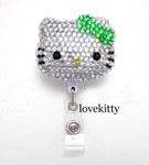 Green Bow -- Blinged Out Hello Kitty Retractable ID Badge Holder /  Name Badges / ID Badge Reel ( 100% Handcrafted ) ----  lovekitty