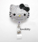 Black Bow -- Blinged Out Hello Kitty Retractable ID Badge Holder /  Name Badges / ID Badge Reel ( 100% Handcrafted ) ----  lovekitty