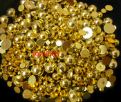 NEW !!! 800 pieces Gold High Gloss Mixed Sizes Flatback Pearl Cabochons -- lovekittybling