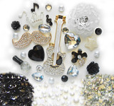 DIY 3D Rhinestones White Guitar Bling Bling Flat back Kawaii Cabochons Deco Kit / Set Z395 -- lovekittybling