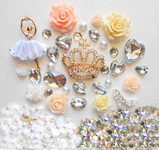 DIY Large Gold Tone Crown Bling Bling Pieces Kawaii Resin Flatback Cabochons Cell Phone Case Deco Kit / Set Z396 -- lovekitty