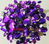 100 pcs --- Sew-On Gems -- Purple -- Mixed Shapes Flat Back Gems ( Mixed Sizes has thread holes ) ---- love kitty bling