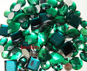 30 pcs Dark Green FlatBack Mixed Sizes Gems-- lovekittybling