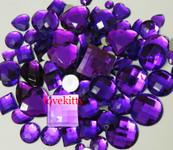 30 pcs Purple FlatBack Mixed Sizes Gems-- lovekittybling