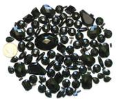 100 pcs --- Sew-On Gems -- Black -- Mixed Shapes Flat Back Gems ( Mixed Sizes has thread holes ) ---- love kitty bling