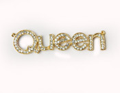 1 piece Gold Tone Queen Logo Bling Bling Decoden Piece -- by lovekitty
