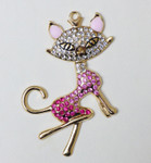 1 pc Pink Fox Bling Bling Decoden Piece -- by lovekitty