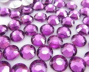 Purple Fuchsia  --- 6mm  50pcs ---Rhinestones Round Flat back 14-facet ( High Quality ) --- lovekitty