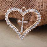 1 pc Rhinestone Cross Heart  Bling Bling Decoden Piece -- by lovekitty