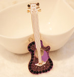 1 pc Purple Guitar Rhinestone Alloy Bling Bling Decoden Piece -- by lovekitty