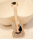 1 pc White Guitar Rhinestone Alloy Bling Bling Decoden Piece -- by lovekitty