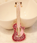 1 pc Pink Guitar Rhinestone Alloy Bling Bling Decoden Piece -- by lovekitty