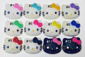 1 pc AB Jelly Rhinestone Blinged Out --  Hello Kitty Face Resin Flatback Cabochon ----  lovekitty