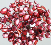 100 pcs --- Sew-On Gems -- Melon Red -- Mixed Shapes Flat Back Gems ( Mixed Sizes has thread holes ) ---- love kitty bling